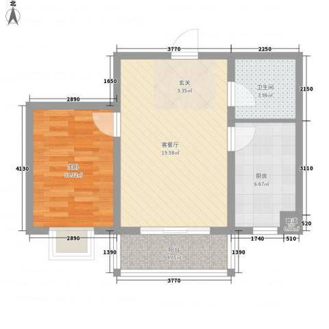 鑫丰华凯鑫城1室1厅1卫1厨65.00㎡户型图