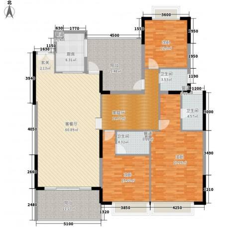 松湖花园3室1厅3卫1厨223.00㎡户型图