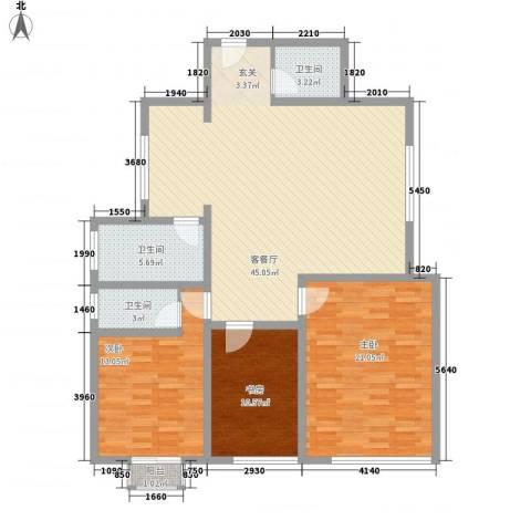 西南花园3室1厅3卫0厨145.00㎡户型图