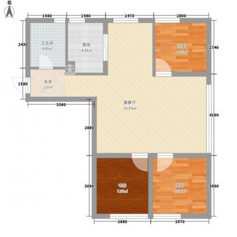 银帆国际3室1厅1卫1厨90.00㎡户型图