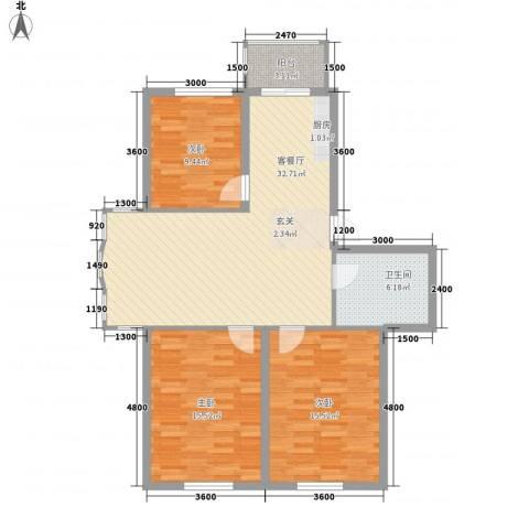 圣淘沙家园3室1厅1卫0厨106.00㎡户型图