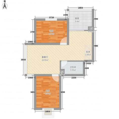 鑫丰华凯鑫城2室1厅1卫1厨72.00㎡户型图