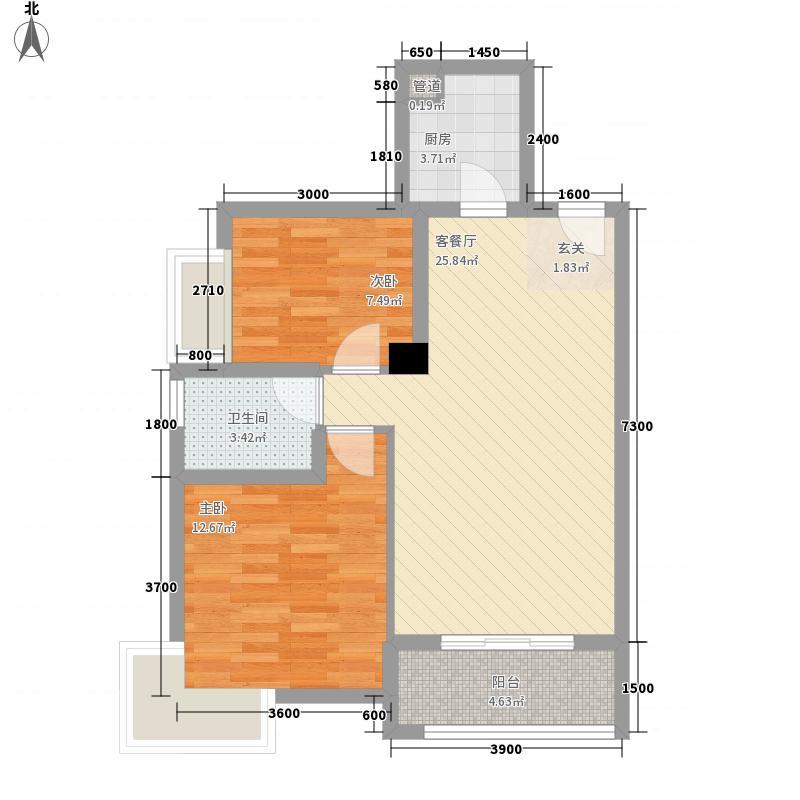 惠景文园82.62㎡2栋03户型2室2厅2卫1厨