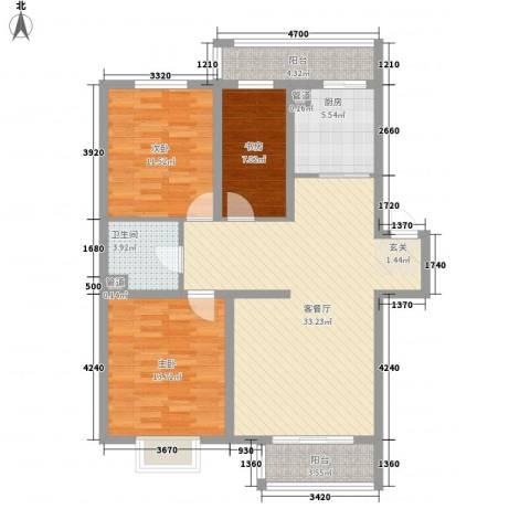 东方之珠3室1厅1卫1厨120.00㎡户型图
