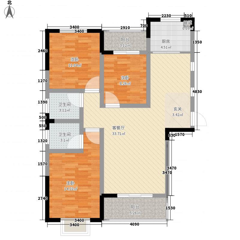 元顺城125.10㎡D三室两厅二卫户型