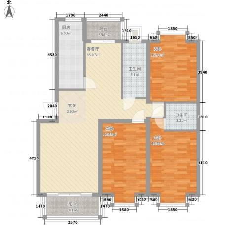 华厦清水湾3室1厅2卫1厨138.00㎡户型图