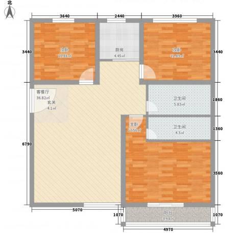 西南花园3室1厅2卫1厨135.00㎡户型图