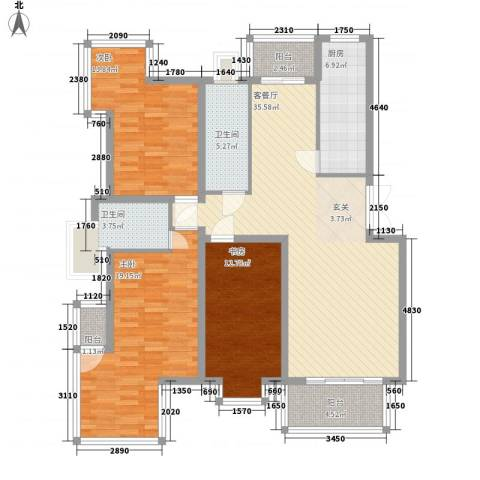 华厦清水湾3室1厅2卫1厨151.00㎡户型图