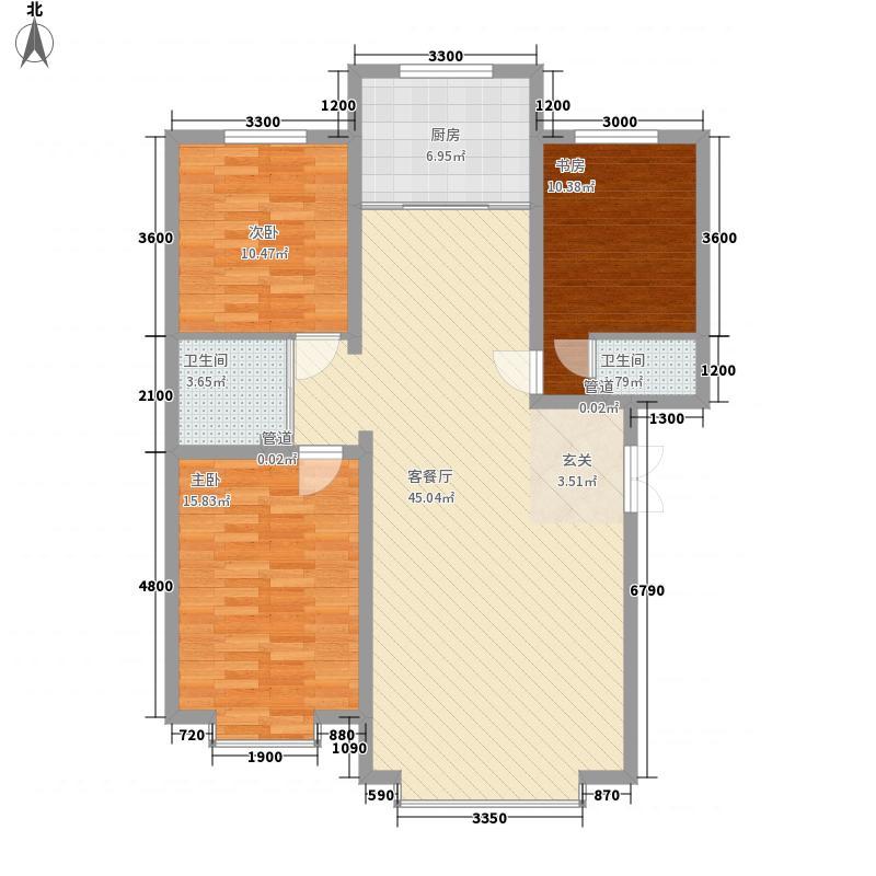 盛世11.40㎡小区三户型2室1厅2卫1厨
