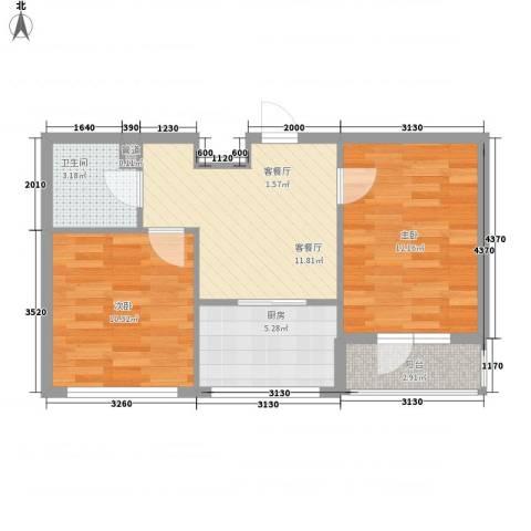 泰锋俪景城2室1厅1卫1厨65.00㎡户型图