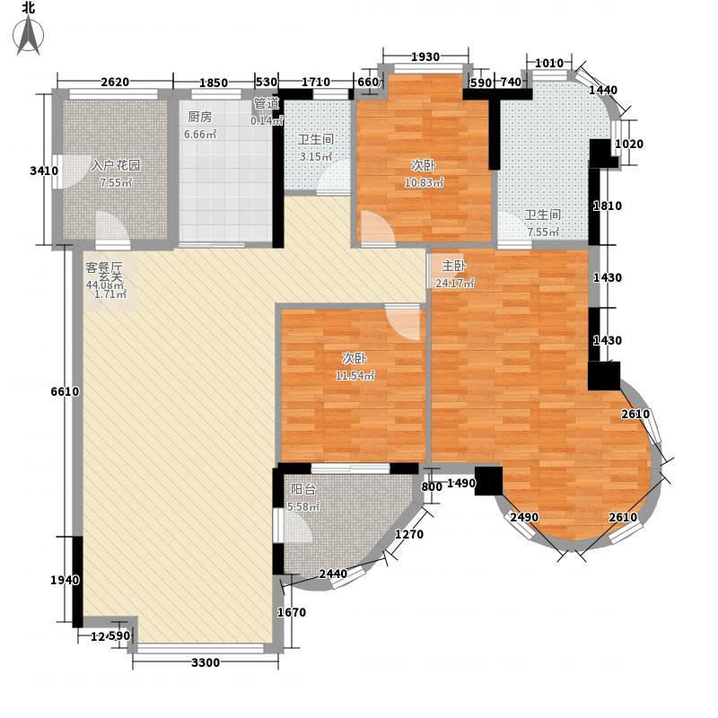 颐景园168.00㎡悦湖01单元户型3室2厅2卫