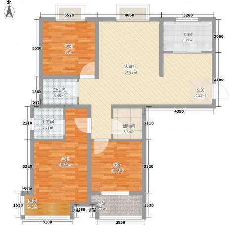 晶都瑞嘉花园3室1厅2卫1厨131.00㎡户型图
