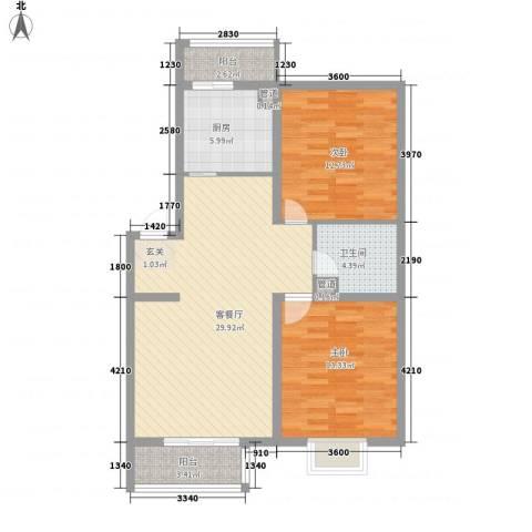 东方之珠2室1厅1卫1厨93.00㎡户型图