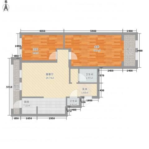 紫金天境2室1厅2卫0厨97.00㎡户型图