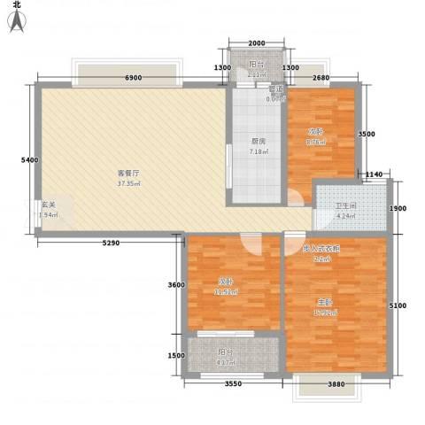 风景翰苑3室1厅1卫1厨115.00㎡户型图