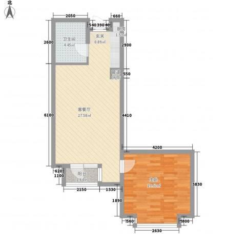 德泰时代广场1室1厅1卫0厨80.00㎡户型图