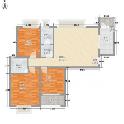 风景翰苑3室1厅2卫1厨124.00㎡户型图