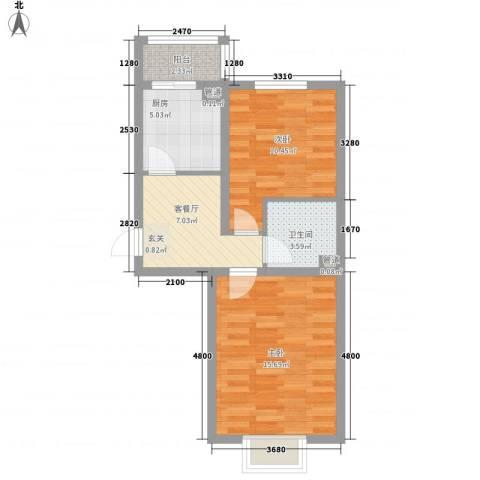 东方之珠2室1厅1卫1厨65.00㎡户型图