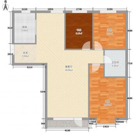 雍华阁3室1厅1卫1厨130.00㎡户型图