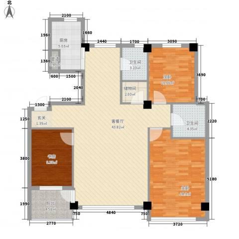 雍华阁3室1厅2卫1厨142.00㎡户型图
