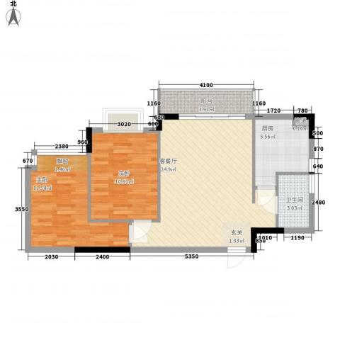 康盛华庭2室1厅1卫1厨74.00㎡户型图