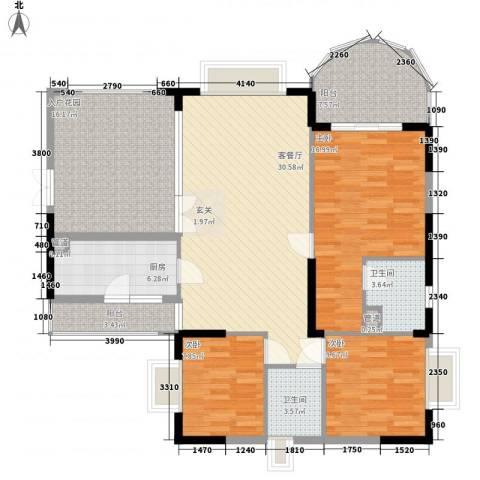 金域时代3室1厅2卫1厨148.00㎡户型图