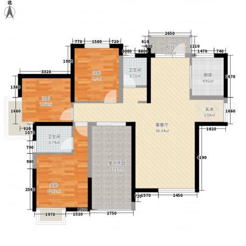 江汽五村3室1厅2卫1厨135.00㎡户型图