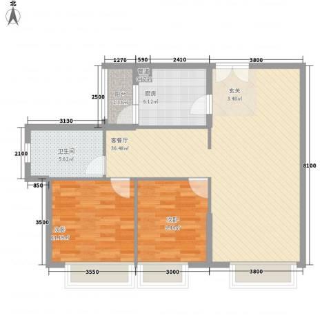 海湾半山2室1厅1卫1厨100.00㎡户型图