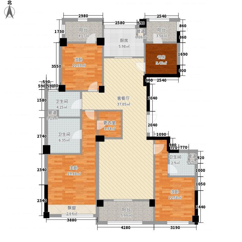 绿城玉兰西花园176.00㎡G11户型4室2厅1卫1厨