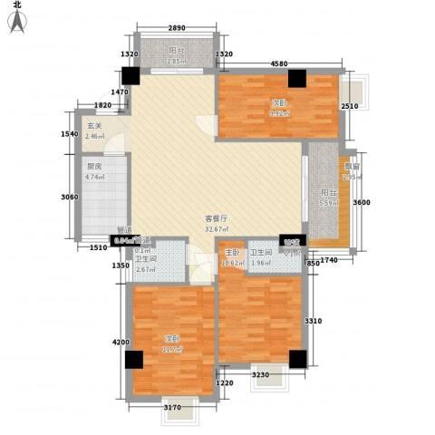 房建大厦3室1厅2卫1厨119.00㎡户型图