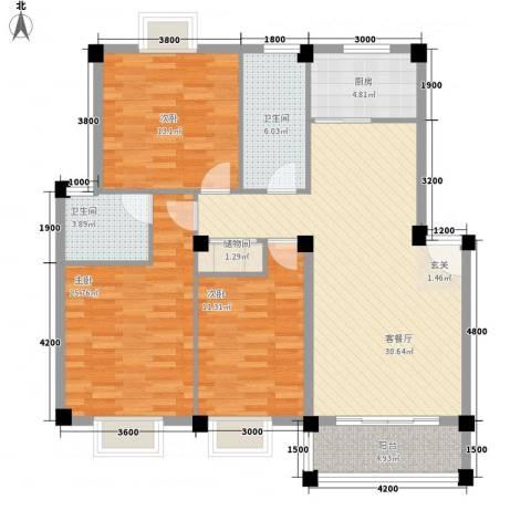 聚龙苑3室1厅2卫1厨103.30㎡户型图