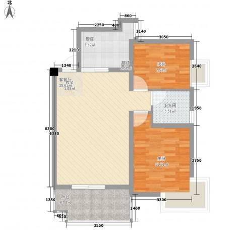 未来海岸系滨湖花园2室1厅1卫1厨86.00㎡户型图