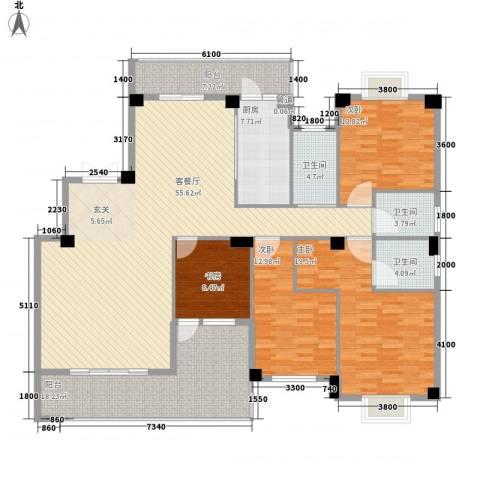 紫金家园4室1厅3卫1厨177.00㎡户型图