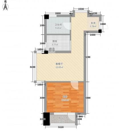 德泰时代广场1室1厅1卫1厨71.00㎡户型图