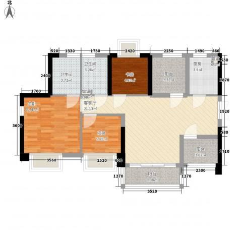 深业东城御园3室1厅2卫1厨85.00㎡户型图