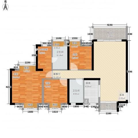 佳兆业水岸华都3室1厅2卫1厨118.00㎡户型图