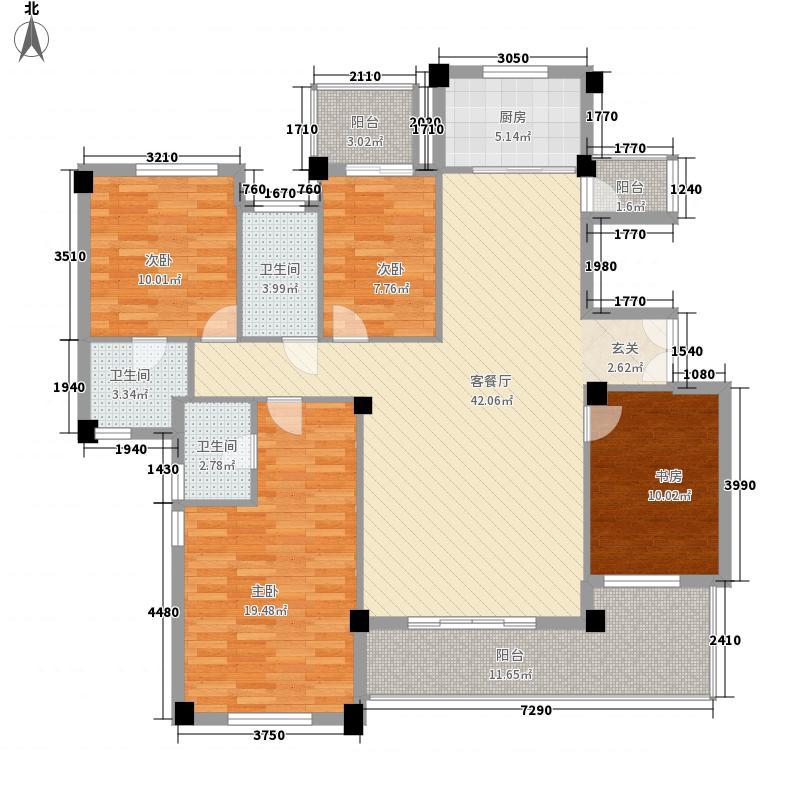中骏黄金海岸173.00㎡c3-2洋房二层户型4室2厅3卫1厨