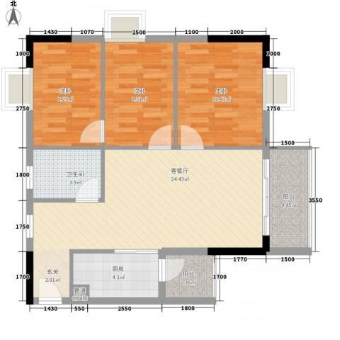 正佳万豪金殿3室1厅1卫1厨94.00㎡户型图