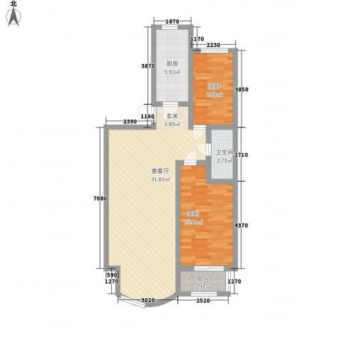 西雅图观海苑2室1厅1卫1厨90.00㎡户型图