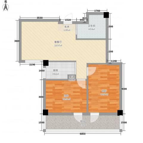 德泰时代广场2室1厅1卫1厨85.00㎡户型图