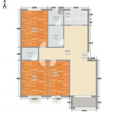 盛景华庭3室1厅3卫1厨136.00㎡户型图