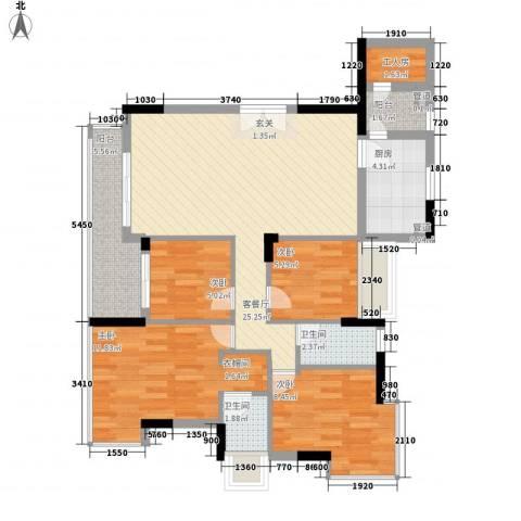 东泰花园荣华苑4室1厅2卫1厨105.00㎡户型图