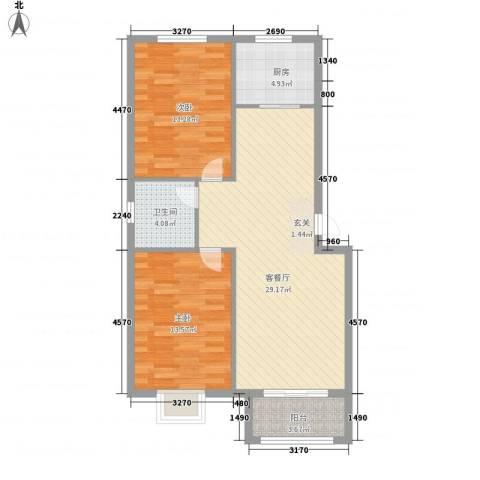 盛景华庭2室1厅1卫1厨97.00㎡户型图