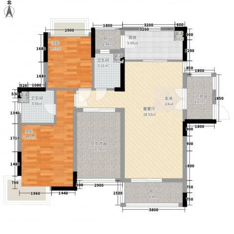 富恒浅水湾2室1厅2卫1厨109.00㎡户型图