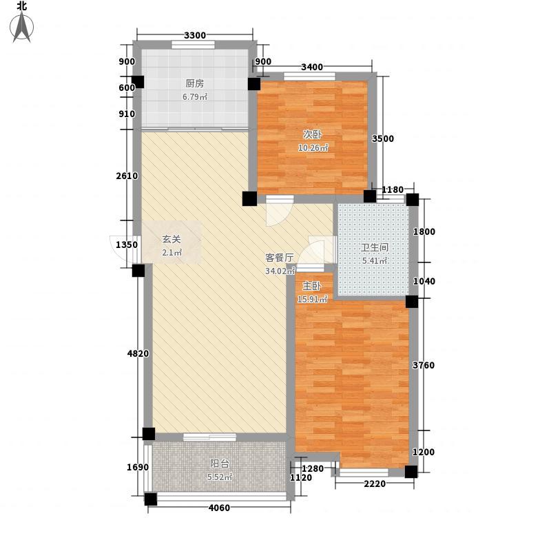水韵江南户型2室2厅1卫1厨