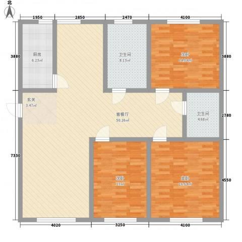 弘基书香园二期3室1厅2卫1厨159.00㎡户型图