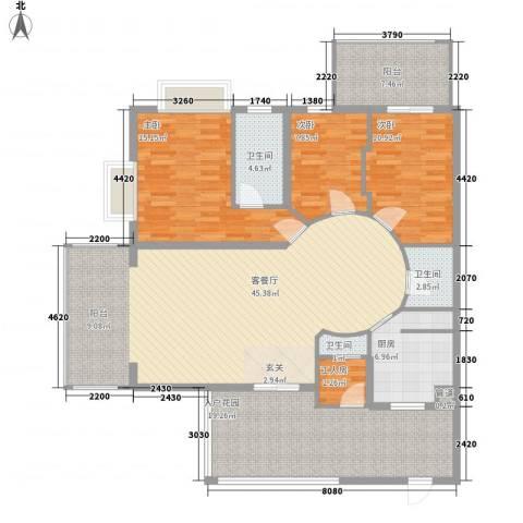 君临宝邸3室1厅3卫1厨173.00㎡户型图