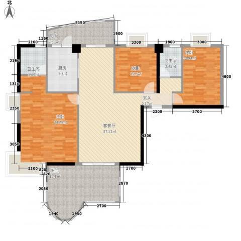 金海湾3室1厅2卫1厨172.00㎡户型图
