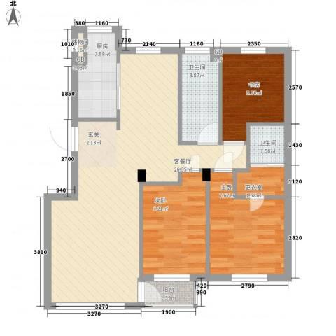 咏月苑3室1厅2卫1厨85.00㎡户型图