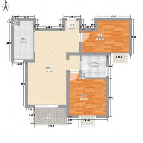 华荣楼2室1厅1卫1厨83.00㎡户型图
